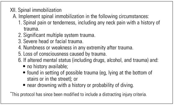 Premise Indicator Words: Can An Out-of-hospital Cervical Spine Clearance Protocol